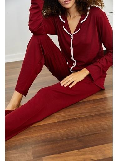 XHAN Beyaz & Yeşil Avokado Desenli Pijama Takımı 1Kxk8-44700-78 Bordo